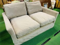 """Two seat """"Otto"""" sofa upholstered in mink smart velvet (100% polyester) by Sofa.com"""