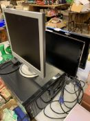 Goodmans TV, 3 monitors and a quantity of network cables