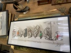 Framed and glazed O'Klein print, four paintings and other items