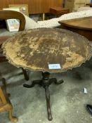 Mahogany pedestal wine table