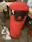 Domyos Punch bag with hanging kit and a pair of Domyos boxing gloves