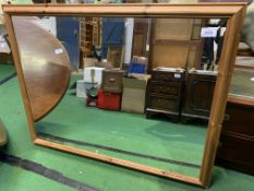 Large pine framed bevelled edge wall mirror