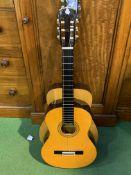 Yamaha acoustic guitar and an Aria acoustic guitar