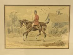 """Framed and glazed watercolour of a gentleman on horseback, """"The hired hunter 1st day of the season""""."""