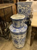 Blue and white china umbrella stand and a blue and white china vase