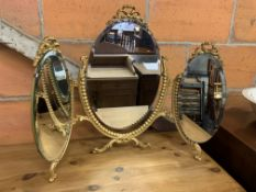 Gilt metal framed triple toilet mirror