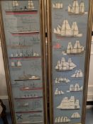 Two gilt framed and glazed prints of various sailing ships and engine powered ships