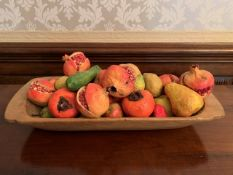 """Wooden long dish containing a quantity of plaster """"fruit"""""""