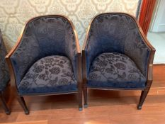 Two blue upholstered show wood tub chairs
