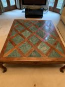 Large coffee table on cabriole legs with green marble inlay