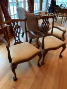 Pair of Georgian style mahogany framed open armchairs