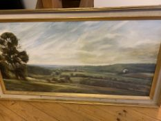 Oil on canvas panorama with Windsor Castle in the distance, signed Christopher Baker 1984