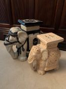 Two Elephant ceramic stools