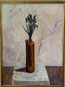 Gilt framed oil on canvas still life Iris in a vase, signed P Fielding, 1985
