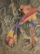 Large framed watercolour of parrots in jungle