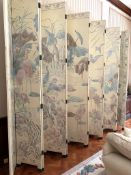 Very large Oriental style wooden twelve panel double sided folding screen