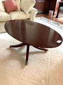 Mahogany oval top coffee table