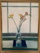 Gilt framed oil on canvas still life Freesias in a vase, signed P Fielding, 1986