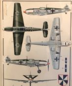 Two framed and glazed watercolours of German WW2 aircraft