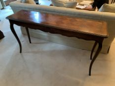 Pair of modern parquetry console tables