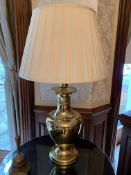 Two brass urn shaped table lamps