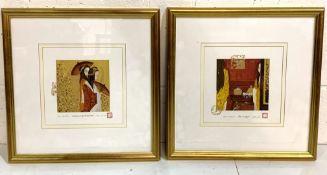 Pair of framed and glazed mixed media paintings by Birgit Berber de Boer