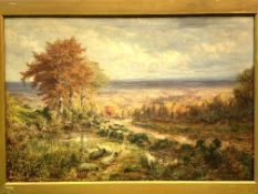 George William Mote (1832-1909), gilt framed oil on canvas of sheep in a landscape