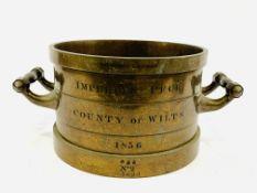 Bronze imperial peck measure, 1836, made by De Grave, London