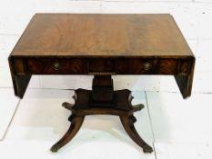 Flame mahogany drop side sofa table