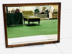 Large carved wood framed double bevelled edge wall mirror