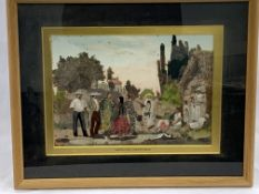 """Framed and glazed mixed media painting entitled """"Mexican Costumes"""""""