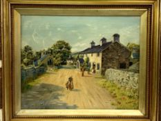 Oil on canvas of people in a lane, signed E.M Kissack
