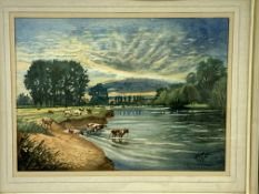 Framed and glazed watercolour of the Thames at Abingdon signed Newton Taylor