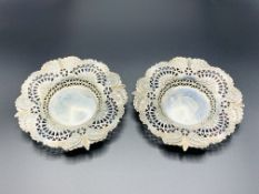 Two silver filigree dishes, Sheffield 1898, by Martin Hall & Co., and another silver dish