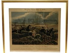 """Group of four gilt framed and glazed prints of """"The first Steeple-Chase on Record"""","""
