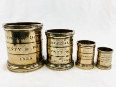 Four bronze measures dated 1836: imperial quart, imperial pint, imperial gill, imperial half gill