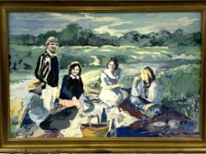 """Gilt framed oil on canvas, 1996, """"The Picnic"""", by Penny Roberts"""