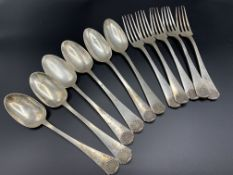 French silver set of six dessert spoons and five dessert forks