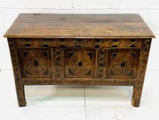 18th Century carved three panel oak chest