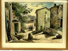 Large framed and glazed watercolour of a Mallorca street scene