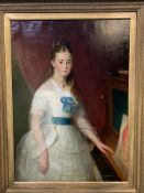 19th Century English school portrait of a young woman in a heavy gilt frame