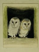 """Watercolour and embroidery """"Fledgling Barn Owls"""" by Cathy Silvester, and a print """"Barn Owl II"""","""