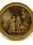Four circular gilt framed and glazed prints of scenes from Shakespeare plays