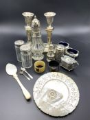 Various silver cruets and other silver and silver plate items