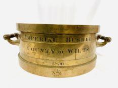 Bronze imperial bushel measure, 1836, made by De Grave, London