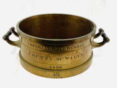 Bronze imperial half bushel measure, 1836, made by De Grave, London