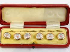 Set of 6 gilt metal and mother of pearl dress shirt buttons, in original red leather case