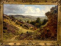 George William Mote (1832-1909), oil on canvas in gilt frame of a Border Collie gathering sheep