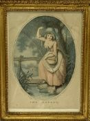Two pairs of gilt framed and glazed prints of women in 18th Century dress