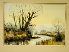 """Framed and glazed watercolour """"Across the River Bank"""" signed Geoff Bartlett"""